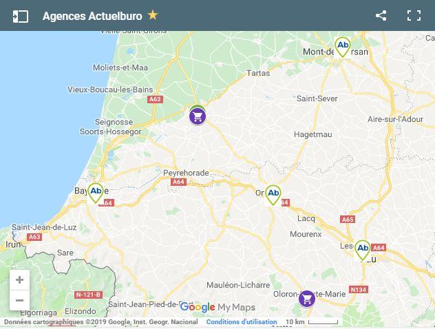 La carte des agences Actuelburo